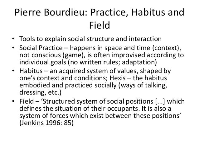 bourdieu and boal expanding upon habitus Bourdieu and boal: expanding upon habitus, practice and field and promoting change crm in indian banks cost management in-house computerized payroll archives.