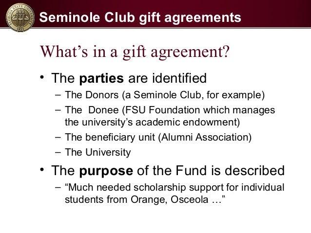 Seminole Club Gift Agreement Process