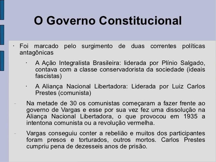 O Governo Constitucional <ul><li>Foi marcado pelo surgimento de duas correntes políticas antagônicas </li></ul><ul><ul><ul...