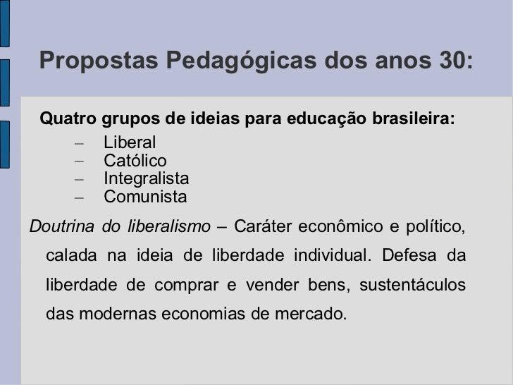 Propostas Pedagógicas dos anos 30:  <ul><li>Quatro grupos de ideias para educação brasileira: </li></ul><ul><ul><li>Libera...
