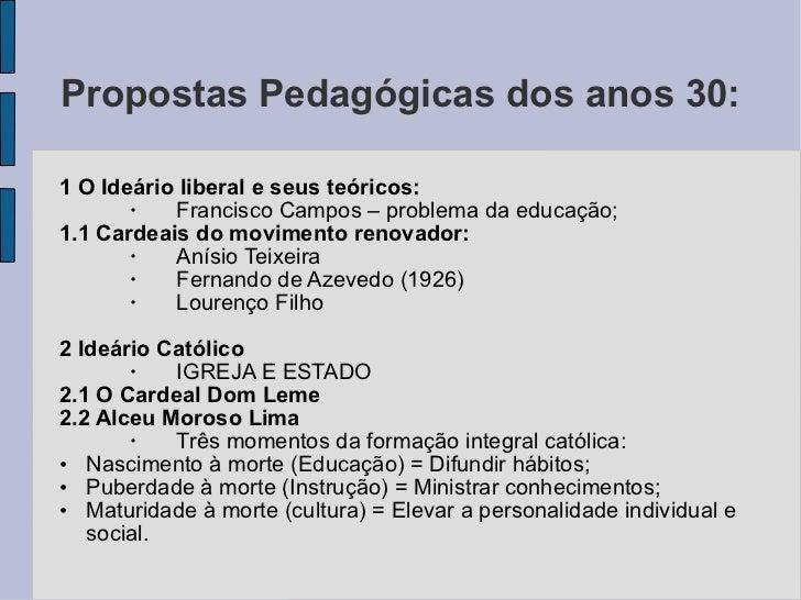 Propostas Pedagógicas dos anos 30:  <ul><li>1 O Ideário liberal e seus teóricos: </li></ul><ul><ul><li>Francisco Campos – ...
