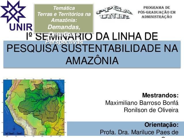 Iº SEMINÁRIO DA LINHA DE PESQUISA SUSTENTABILIDADE NA AMAZÔNIA Mestrandos: Maximiliano Barroso Bonfá Ronilson de Oliveira ...