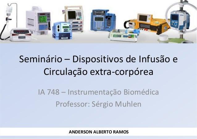 Seminário – Dispositivos de Infusão e Circulação extra-corpórea IA 748 – Instrumentação Biomédica Professor: Sérgio Muhlen...
