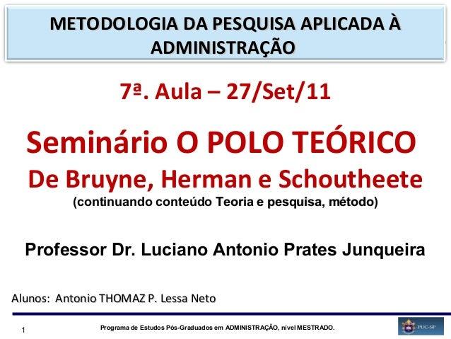 1 Programa de Estudos Pós-Graduados em ADMINISTRAÇÃO, nível MESTRADO. 7ª. Aula – 27/Set/11 Seminário O POLO TEÓRICO De Bru...