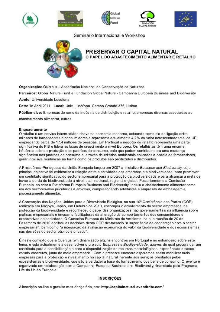 Seminário Internacional e Workshop                                        PRESERVAR O CAPITAL NATURAL                     ...