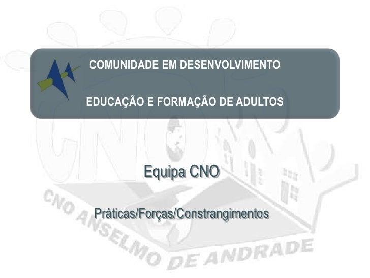 COMUNIDADE EM DESENVOLVIMENTOEDUCAÇÃO E FORMAÇÃO DE ADULTOS          Equipa CNO Práticas/Forças/Constrangimentos
