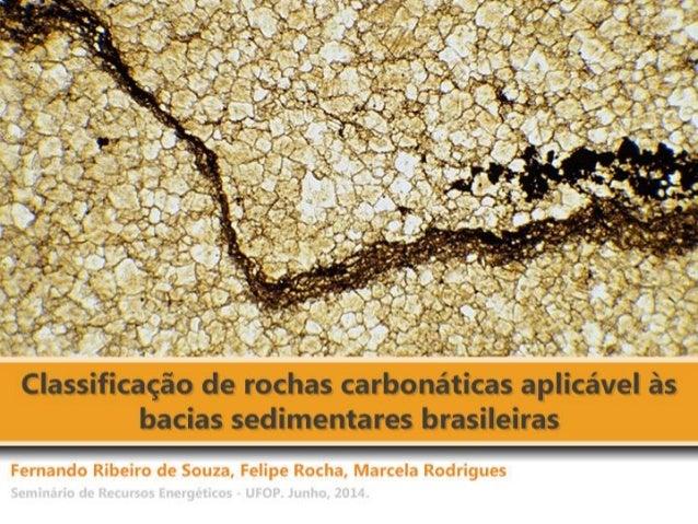Introdução  Classificações clássicas das rochas carbonáticas  Principais constituintes  Definição dos termos utilizados na...