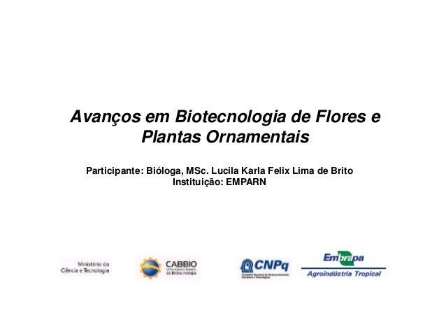 Avanços em Biotecnologia de Flores e       Plantas Ornamentais Participante: Bióloga, MSc. Lucila Karla Felix Lima de Brit...