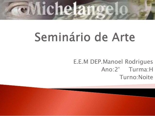 E.E.M DEP.Manoel Rodrigues Ano:2° Turma:H Turno:Noite