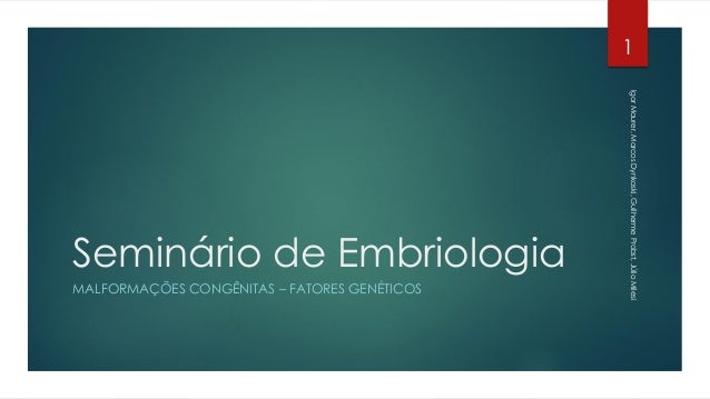 Seminário de EmbriologiaMALFORMAÇÕES CONGÊNITAS – FATORES GENÉTICOS1IgorMaurer,MarcosDynkoski,GuilhermeProbst,JúlioMilesi