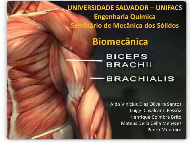 UNIVERSIDADE SALVADOR – UNIFACS<br />Engenharia Química<br />Seminário de Mecânica dos Sólidos<br />Biomecânica<br />Aldo ...