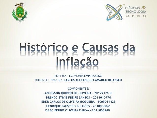 ECT1565 – ECONOMIA EMPRESARIAL DOCENTE: Prof. Dr. CARLOS ALEXANDRE CAMARGO DE ABREU COMPONENTES: ANDERSON QUIRINO DE OLIVE...