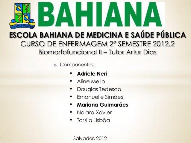 ESCOLA BAHIANA DE MEDICINA E SAÚDE PÚBLICA   CURSO DE ENFERMAGEM 2º SEMESTRE 2012.2       Biomorfofuncional II – Tutor Art...