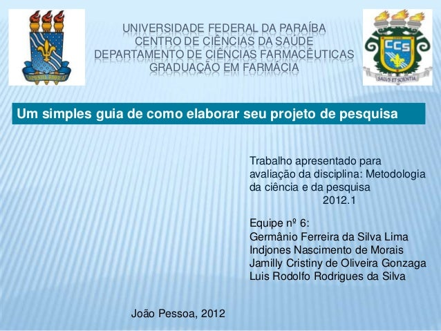 UNIVERSIDADE FEDERAL DA PARAÍBA                 CENTRO DE CIÊNCIAS DA SAÚDE           DEPARTAMENTO DE CIÊNCIAS FARMACÊUTIC...