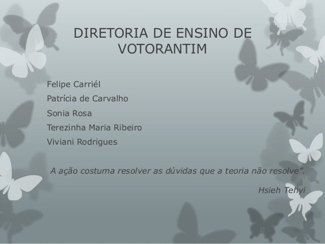 DIRETORIA DE ENSINO DE VOTORANTIM Felipe Carriél Patrícia de Carvalho Sonia Rosa Terezinha Maria Ribeiro Viviani Rodrigues...