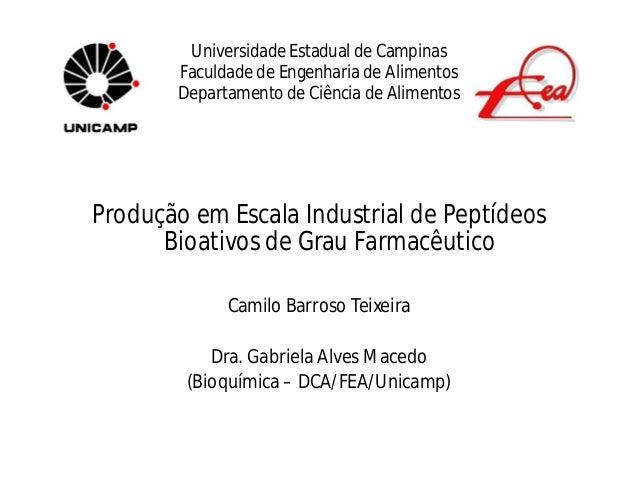 Universidade Estadual de Campinas       Faculdade de Engenharia de Alimentos       Departamento de Ciência de AlimentosPro...