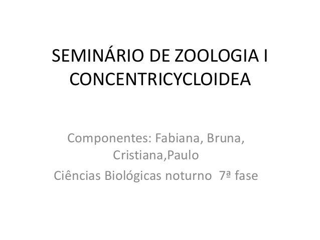 SEMINÁRIO DE ZOOLOGIA I CONCENTRICYCLOIDEA Componentes: Fabiana, Bruna, Cristiana,Paulo Ciências Biológicas noturno 7ª fase