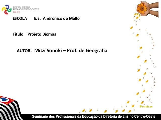 ESCOLA    E.E. Andronico de MelloTítulo Projeto Biomas  AUTOR: Mitzi Sonoki – Prof. de Geografia                          ...