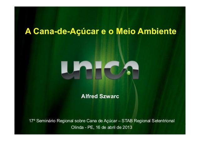 17º Seminário Regional sobre Cana de Açúcar – STAB Regional SetentrionalOlinda - PE, 16 de abril de 2013Alfred SzwarcA Can...
