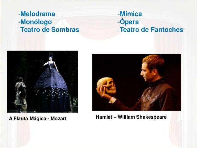 -Mímica  -Ópera  -Teatro de Fantoches  -Melodrama  -Monólogo  -Teatro de Sombras  A Flauta Mágica - Mozart Hamlet – Willia...
