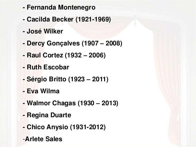 - Fernanda Montenegro  - Cacilda Becker (1921-1969)  - José Wilker  - Dercy Gonçalves (1907 – 2008)  - Raul Cortez (1932 –...