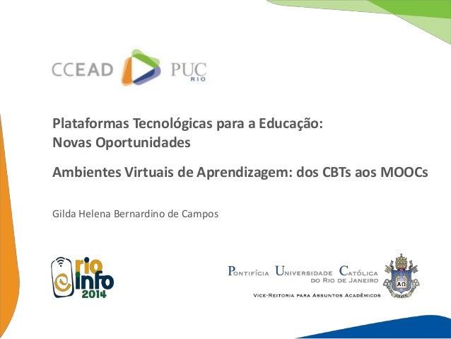RIOINFO 2014  Plataformas Tecnológicas para a Educação:  Novas Oportunidades  Ambientes Virtuais de Aprendizagem: dos CBTs...