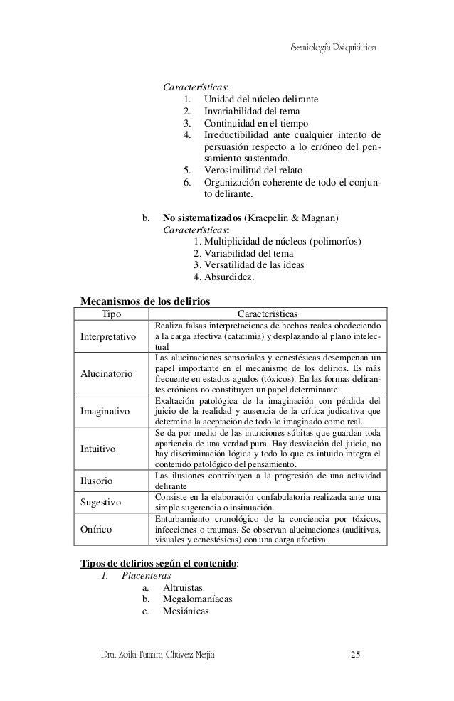 Semiología Psiquiátrica                        Características:                            1. Unidad del núcleo delirante ...