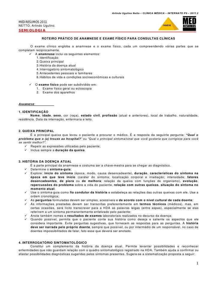 Arlindo Ugulino Netto – CL•NICA M'DICA – INTERNATO P9 – 2011.2MED RESUMOS 2011NETTO, Arlindo Ugulino.SEMIOLOGIA           ...