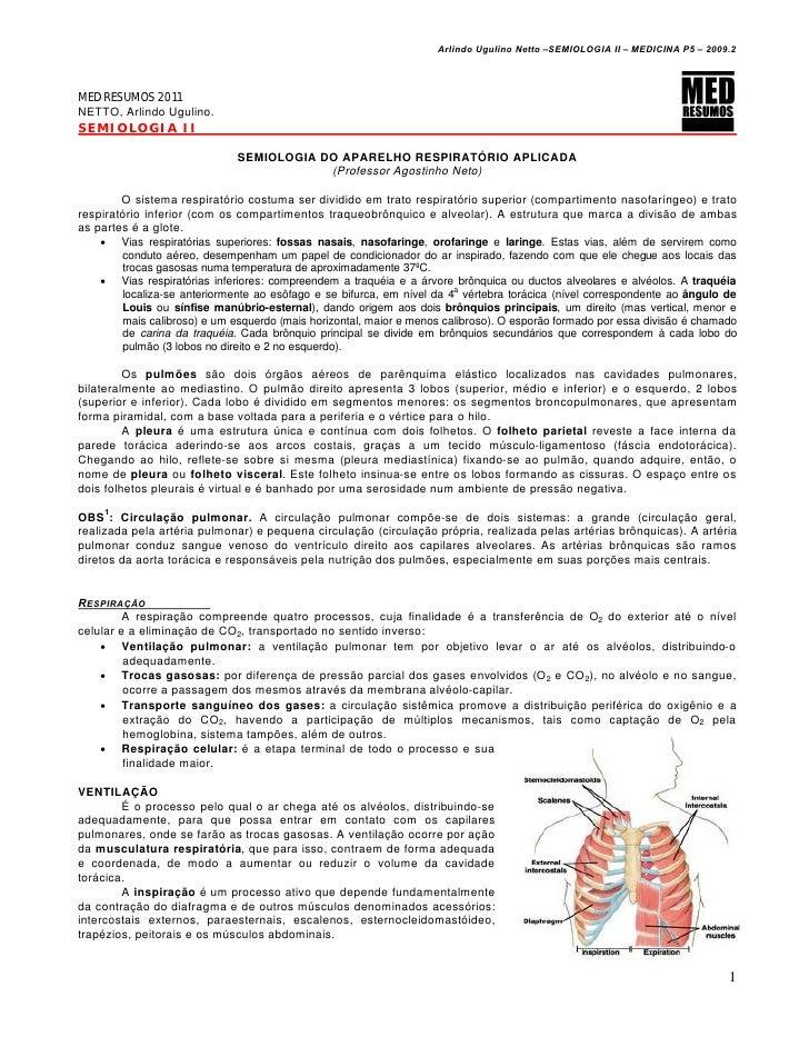 Arlindo Ugulino Netto –SEMIOLOGIA II – MEDICINA P5 – 2009.2MED RESUMOS 2011NETTO, Arlindo Ugulino.SEMIOLOGIA II           ...