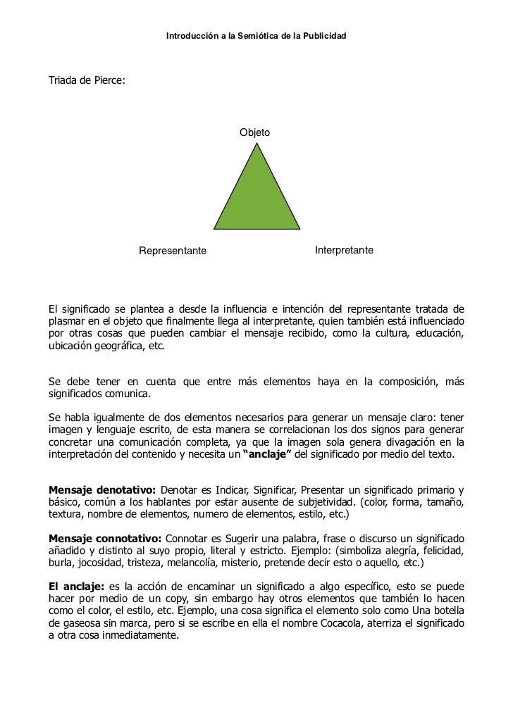 Introducción a la Semiótica de la PublicidadTriada de Pierce:                                           Objeto            ...