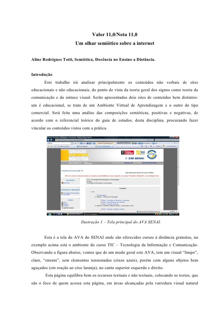 Valor 11,0/Nota 11,0                          Um olhar semiótico sobre a internet   Aline Rodrigues Totti, Semiótica, Docê...