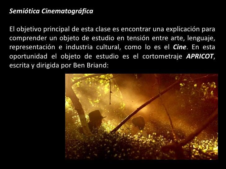 Semiótica Cinematográfica<br />El objetivo principal de esta clase es encontrar una explicación para comprender un objeto ...