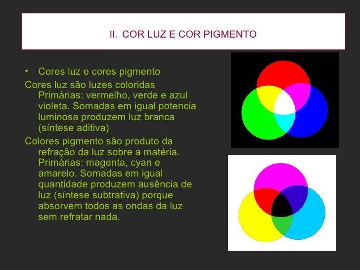 II.   COR LUZ E COR PIGMENTO <ul><li>Cores luz e cores pigmento </li></ul><ul><li>Cores luz são luzes coloridas Primárias:...