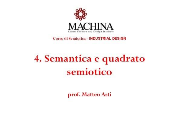 Corso di Semiotica - INDUSTRIAL DESIGN 4. Semantica e quadrato semiotico prof. Matteo Asti