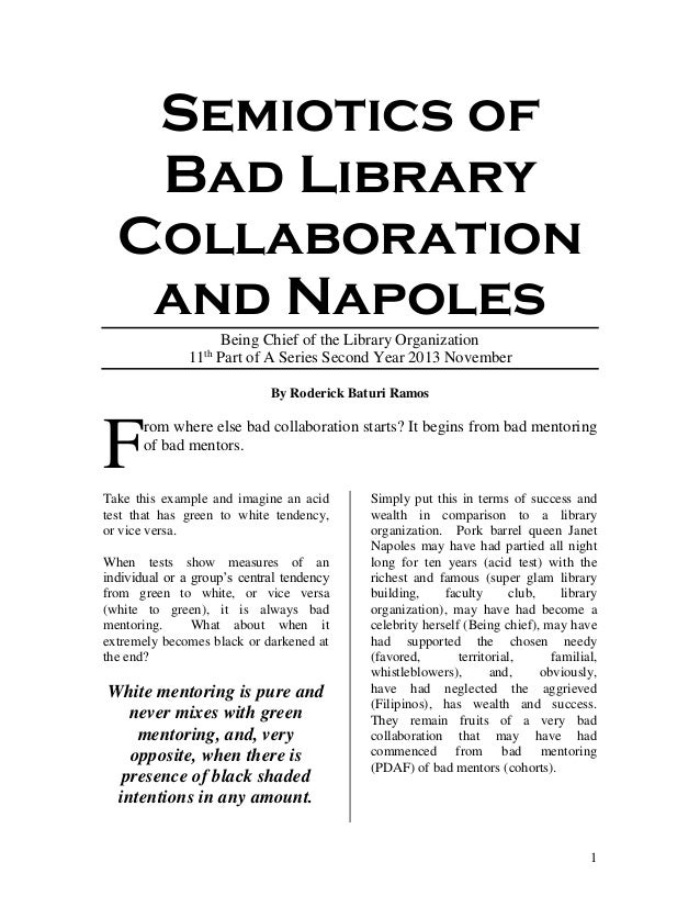 1 Semiotics of Bad Library Collaboration and Napoles Being Chief of the Library Organization 11th Part of A Series Second ...