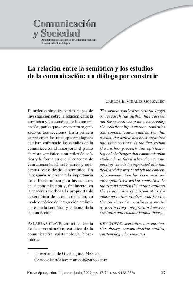 37 Carlos E. Vidales Gonzáles  Universidad de Guadalajara, México.  Correo electrónico: morocoi@yahoo.com Nueva época, ...