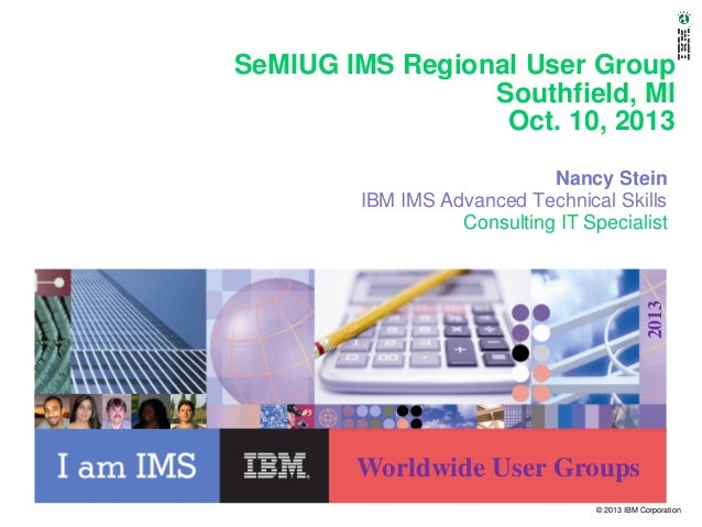SeMIUG IMS Regional User Group Southfield, MI Oct. 10, 2013  2013  Nancy Stein IBM IMS Advanced Technical Skills Consultin...