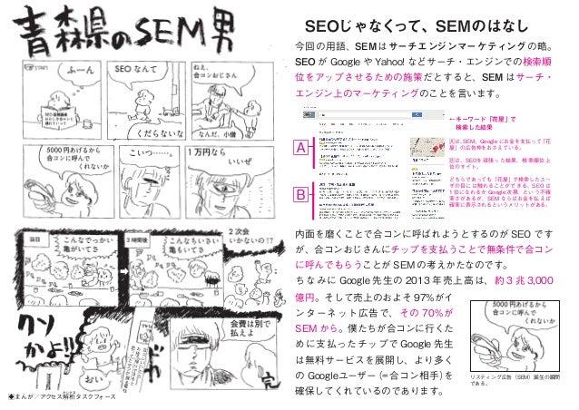 今回の用語、SEMはサーチエンジンマーケティングの略。 SEO が Google や Yahoo! などサーチ・エンジンでの検索順 位をアップさせるための施策だとすると、SEM はサーチ・ エンジン上のマーケティングのことを言います。 SEOじ...