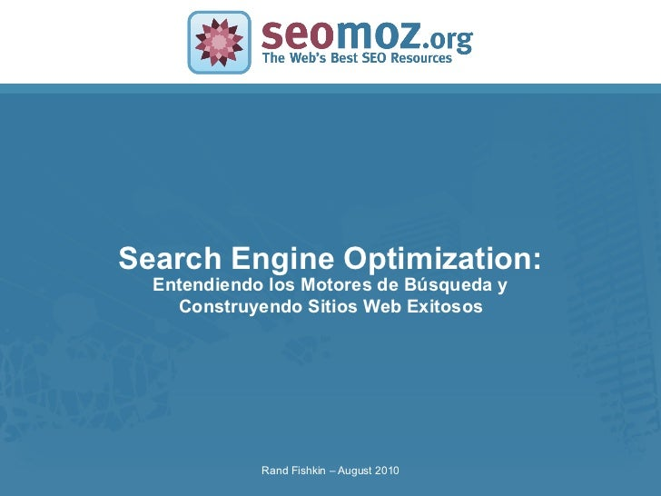 Search Engine Optimization:SLIDE MASTER – COVERPAGE              Entendiendo los Motores de Búsqueda y                Cons...