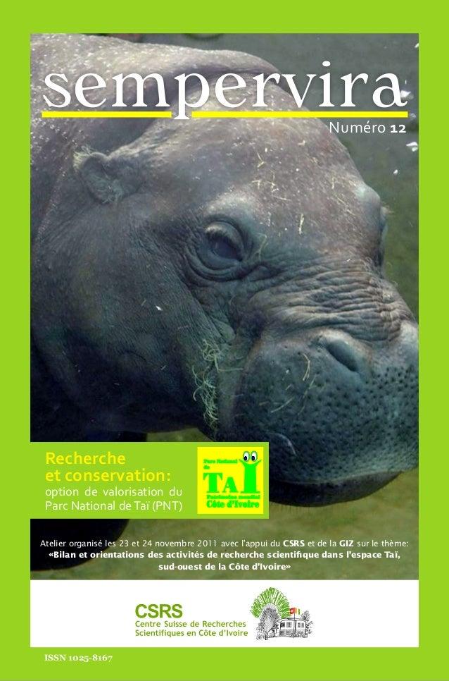Chapitre en cours  sempervira  Recherche et conservation:  S E M P E R V I R A  option de valorisation du Parc National de...