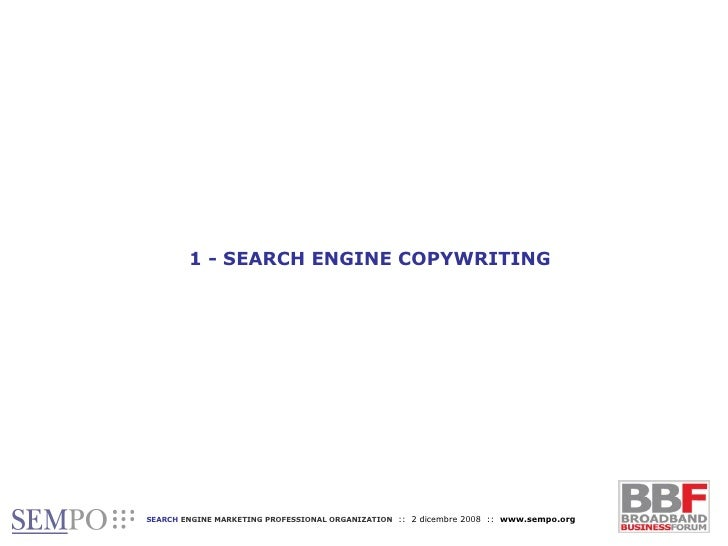 1 - SEARCH ENGINE COPYWRITING