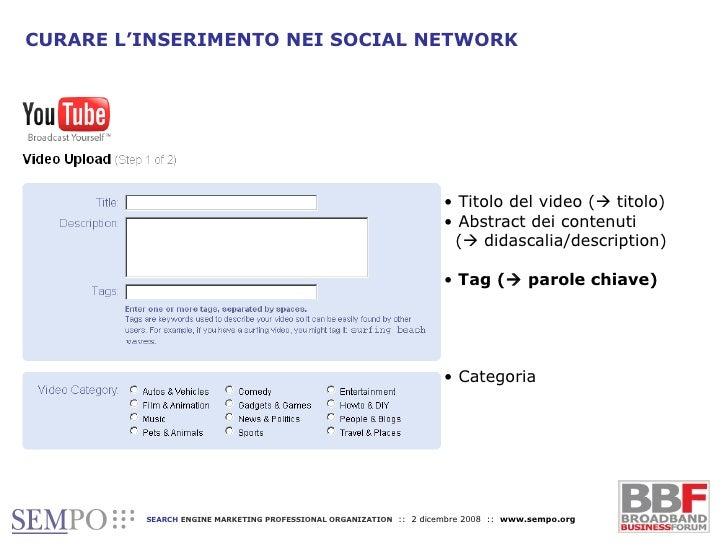 CURARE L'INSERIMENTO NEI SOCIAL NETWORK <ul><li>Titolo del video (   titolo) </li></ul><ul><li>Abstract dei contenuti    ...