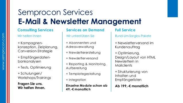 E-mail + Newsletter - Typische Fehler + Praxis Tipps (Semprocon, Germany, Berlin) Slide 2