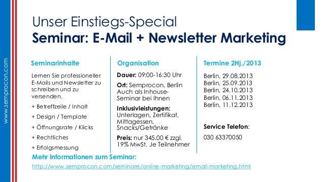 E-mail + Newsletter - Typische Fehler + Praxis Tipps (Semprocon, Germany, Berlin) Slide 3