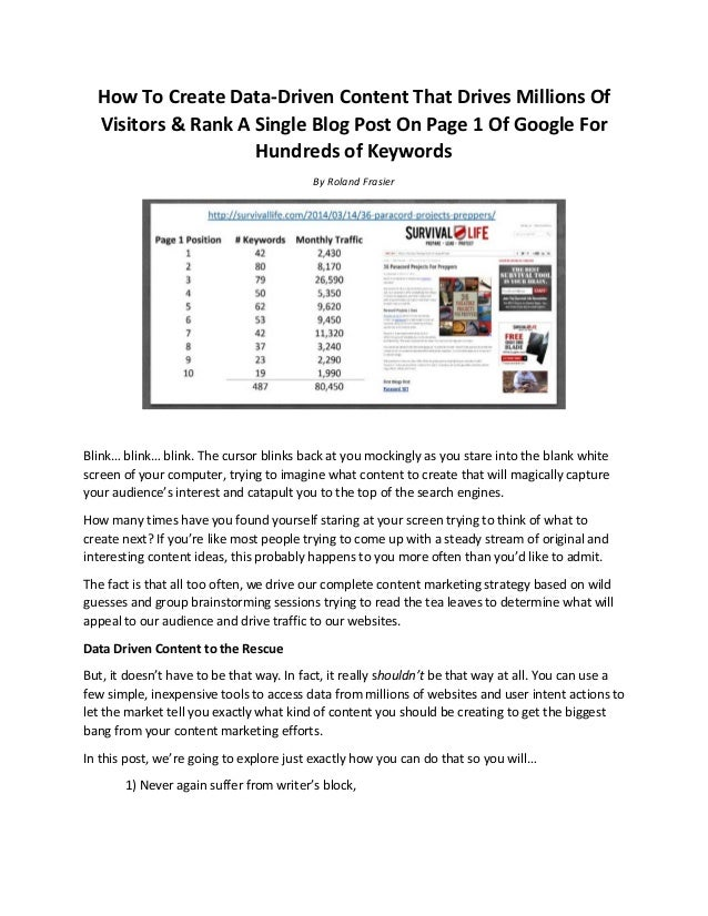 How To Create Data-Driven Content That Drives Millions Of Visitors & Rank A Single Blog Post On Page 1 Of Google For Hundr...