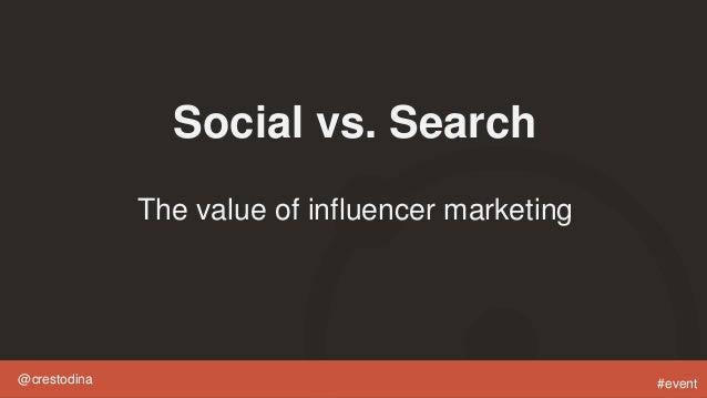 @crestodina #event Social vs. Search The value of influencer marketing
