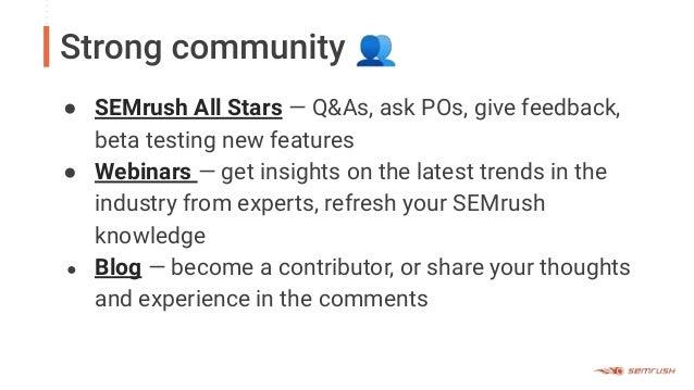 SEMrush product training- Killer Features