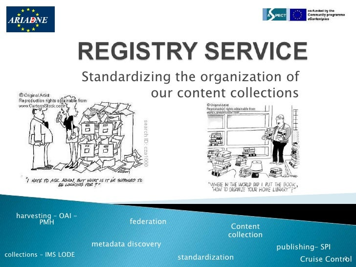 REGISTRY SERVICE<br />Standardizing the organization of our content collections<br />harvesting – OAI -PMH<br />federation...