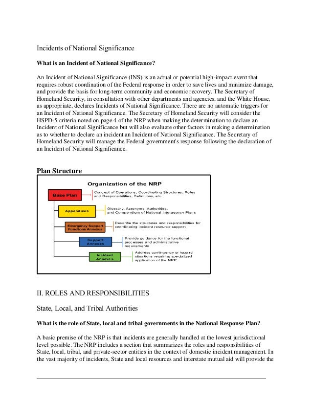 national response plan nrp analysis January 2008 national response framework  improvements to the previous national response plan  the nrp was still insufficiently national in its .