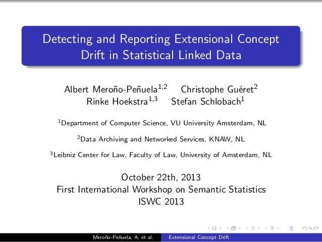 Detecting and Reporting Extensional Concept Drift in Statistical Linked Data Albert Mero˜o-Pe˜uela1,2 Christophe Gu´ret2 n...